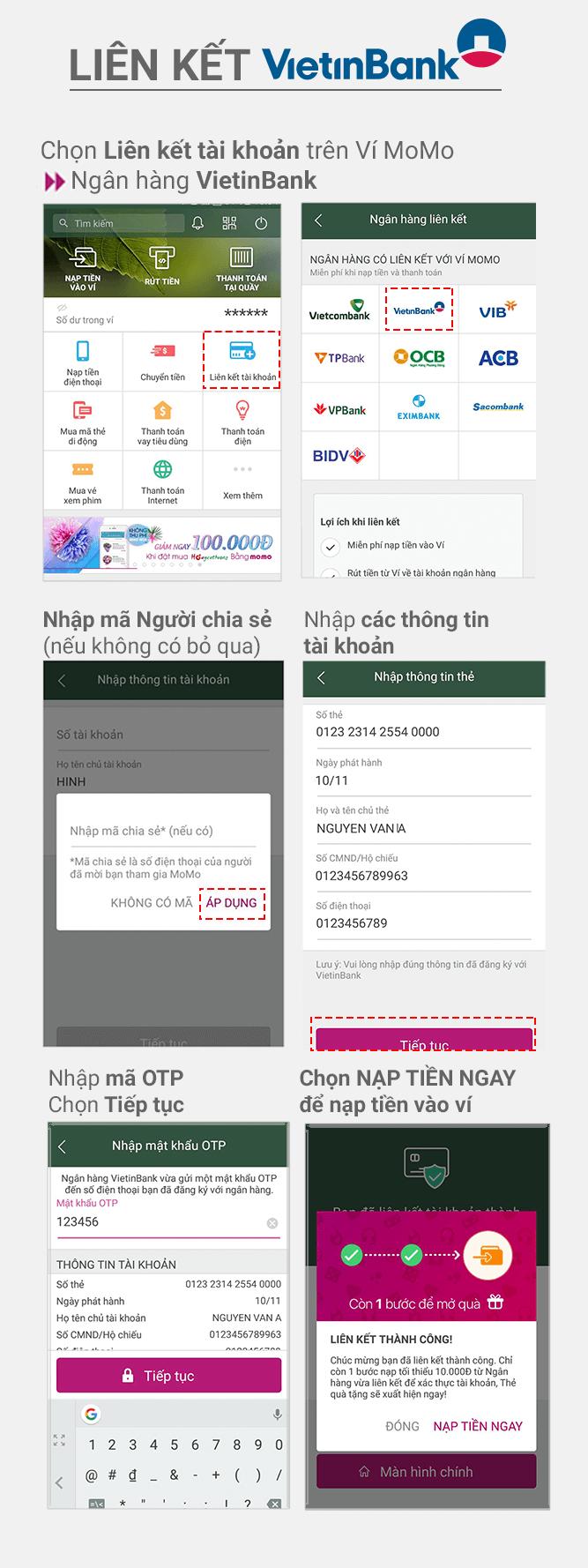 Hướng dẫn liên kết VTB Bank