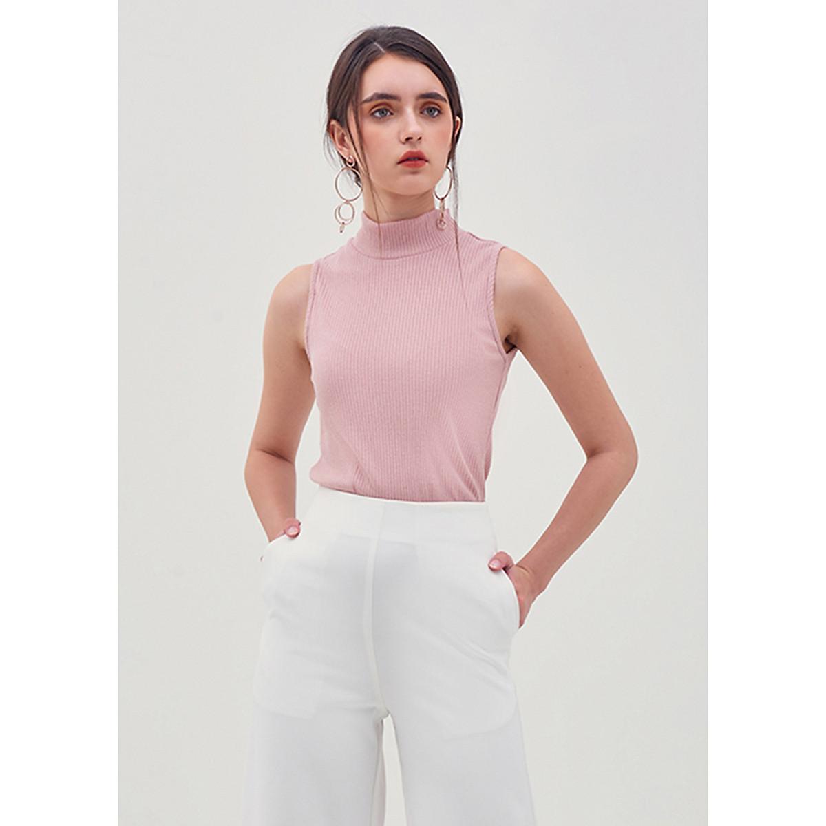 Áo Thun Cổ Lọ Sát Nách Dệt Kim Marc Fashion - Hồng FN106018