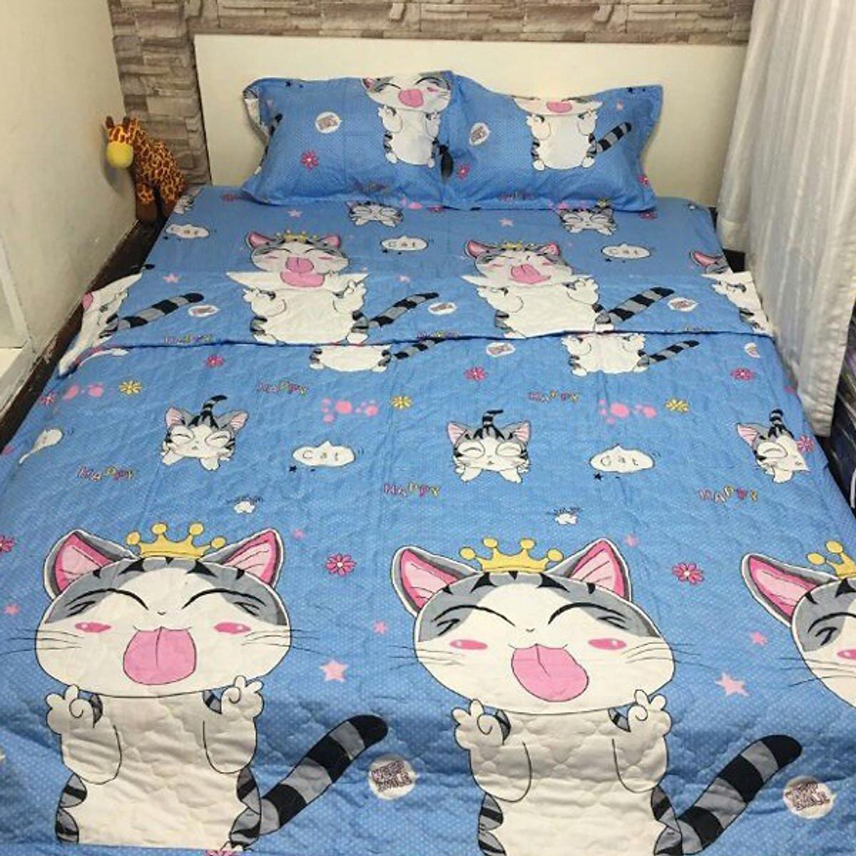 Bộ Drap Gối Thường 3 Mèo Thần Tài