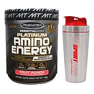 Combo BCAA Platinum Amino Plus Energy của Muscle Tech hương FRUIT PUNCH (Trái cây tổng hợp) hộp 30 lần dùng hỗ trợ tăng sức bền, sức mạnh, đốt mỡ giảm cân mạnh mẽ, phục hồi cơ nhanh chóng cho người tập GYM và chơi thể thao thao & Bình lắc INOX 739ml (Mẫu ngẫu nhiên) thumbnail