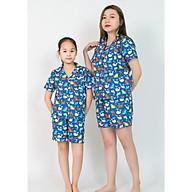 Pijama mẹ và bé quần đùi áo cộc màu xanh hình cá voi thumbnail