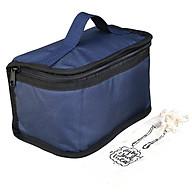 Túi Đựng Hộp Cơm Giữ Nhiệt Văn Phòng Dạng Hộp Màu Xanh Navy Size Nhỏ Có Dây Khóa Kéo Tặng Túi Muỗng Nĩa (Lunch Bags, Box) thumbnail
