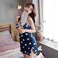 Váy ngủ lụa 2 dây chấm bi hàng Quảng Châu cao cấp lụa tơ thumbnail