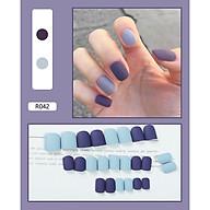 Bộ 24 móng tay giả màu đơn sắc (R042) tặng kèm thun lò xo cột tóc màu đen tiện lợi thumbnail