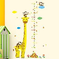 Decal hình dán tường 3D trang trí hươu cao cổ thước đo chiều cao cho bé thumbnail