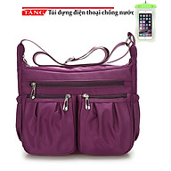 Túi đeo vai nữ thời trang cổ điển dù lạnh kiểu 2 hộp nhúm chỉ AC74 Tặng túi điện thoại chống nước thumbnail