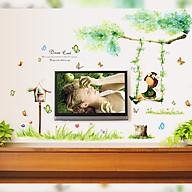 Decal dán tường trang trí phòng ngủ, lớp mầm non- Bé đu xích đu xanh- mã sp DAY9194 thumbnail