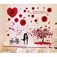 Decal dán tường Cây trái tim và Hoa hồng đỏ - HP349 thumbnail