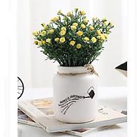Bình hoa sứ cổ ngắn men trắng + kèm hoa (kt 21x9cm) thumbnail