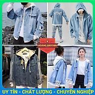 Áo khoác jean xanh nam nữ liền mũ đơn giản mềm mịn thumbnail