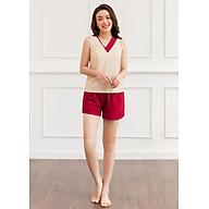 Đồ ngủ nữ thiết kế Freedy bộ sát nách cổ V áo be quần đỏ thumbnail
