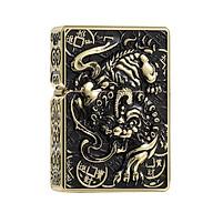 Hộp Qụet Bật Lửa Z-KJ1003D Họa Tiết Kì Lân 1 Sừng Đẹp Độc Lạ Màu Vàng - Dùng Xăng Bấc Đá Cao Cấp thumbnail