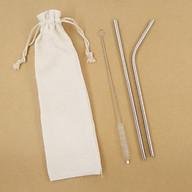 2 Ống Hút Inox - Túi Vải Bố( Ống Hút Thép ) thumbnail