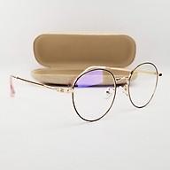 Gọng kính nam nữ tròn màu đen, bạc, vàng hồng chất liệu kim loại SA29203. Tròng kính giả cận 0 độ chống ánh sáng xanh, chống tia UV thumbnail