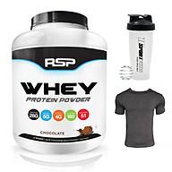 Combo Sữa tăng cơ giảm mỡ Whey Protein Powder của RSP hương Chocolate hộp 51 lần dùng hỗ trợ tăng cơ, giảm cân đốt mỡ, phục hồi cơ bắp & Bình lắc 600ml (Mẫu ngẫu nhiên) & Áo thun thể thao (Size M 57-68kg) thumbnail
