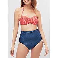 Bộ Bơi Hai Mảnh Vintage High Waist Polka Dots Denim Swimsuit SW0119035 thumbnail