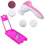 Bộ 1 máy rửa mặt 6 in1 và 1 dụng cụ cắt dưa leo đắp mặt (Hồng) thumbnail