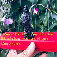Bộ Tượng Phật Quan Âm Thần Mộc dùng để trên xe, trên bàn, Kèm hộp đựng cung hỷ lót Nhung Gấm, Kèm vòng tay chỉ đỏ Thailand thumbnail