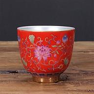 Chén Bạc uống trà Hoa Sen ngũ sắc màu đỏ thumbnail