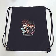Balo dây rút đen in hình BUNGOU STRAY DOGS anime chibi VĂN HÀO LƯU LẠC túi rút đi học xinh xắn thời trang thumbnail