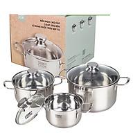 [Hàng chính hãng] Bộ 3 nồi inox đáy từ 3 lớp Greencook GCS06 dùng được trên mọi loại bếp, quai cách nhiệt size 16 20 24cm thumbnail