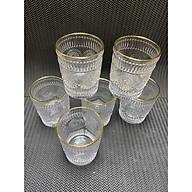 Bộ 6 cốc thủy tinh chịu nhiệt cao cấp hoa văn tròn trắng viền vàng - ANTH346 thumbnail