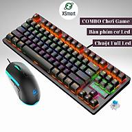 Combo bàn phím cơ và chuột XSmart kèm tai nghe headphone chụp tai có mic, bộ sản phẩm FULL LED đổi màu, K2+V7+Q9 7.1 (đen) - Hàng Chính Hãng thumbnail