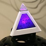 Đồng hồ điện tử hình Kim Tự Tháp để bàn đổi màu (Tặng kèm bộ 6 con bướm dạ quang phát sáng) thumbnail