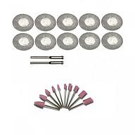 Combo 10 lưỡi cắt phủ kim cương và 10 mũi đá mài mini dùng cho máy khoan mài khắc mini đa năng thumbnail