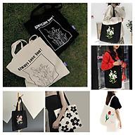 Túi tote vải canvas 2 màu đen,trắng phong cách Hàn quốc, ngăn phụ có khóa thumbnail