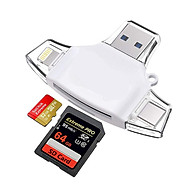 Fun 4-in-1 Card Reader for Lightning+Micro USB+USB3.0+Type-C Interface for iPhone iPad Android Mac Smartphones thumbnail
