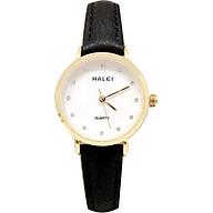 Đồng Hồ Nữ Halei HL542 Dây da đen mặt trắng (Tặng pin Nhật sẵn trong đồng hồ + Móc Khóa gỗ Đồng hồ 888 y hình + Hộp Chính Hãng) thumbnail