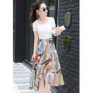 Set áo lệch vai chân váy đẹp kiểu set bộ họa tiết lập thế màu trắng S3015 thumbnail