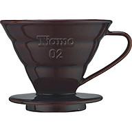 PHỄU CÀ PHÊ BẰNG SỨ CAFE DE TIAMO V60-02 PORCELAIN COFFEE DRIPPER BROWN (HG5538BR) thumbnail
