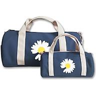 Combo túi du lịch COVI đa năng thời trang màu xanh navy in hình hoa cúc vải canvas thumbnail