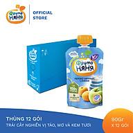 Thùng 12 Gói Trái cây nghiền vị táo, mơ và kem tươi Fruto Nyanya 90g thumbnail