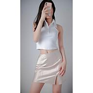 Chân váy nữ dáng chữ A xẻ đùi màu Nude phong cách Basic KRYSTAL NK40 thumbnail