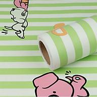 Cuộn 5m Decal Giấy Dán Tường Chó snoopy sọc xanh lá (5m dài x 0.45m rộng) thumbnail