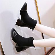 1G11 Giày Boots bốt nữ cao gót da phối thun K04 boot thumbnail