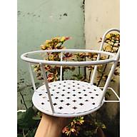 Giỏ treo chậu hoa ban công bằng sắt mỹ thuật - màu trắng thumbnail