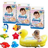 Combo 3 gói tã dán Moony cao cấp size NB90 S84 M64 XL44 tặng đồ chơi tắm Toys House và chậu tắm phao vịt vàng thumbnail