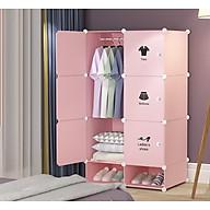 Tủ nhựa ghép 8 ô(2 ô giày) nhỏ gọn tiết kiệm diện tích (decal quần áo) thumbnail