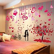 Decal dán tường dây leo và cây trái tim cặp đôi - HP411 thumbnail
