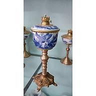 01 Đèn dầu thờ chân đồng men lam gốm sứ Bát Tràng cao 45cm cả bóng thumbnail