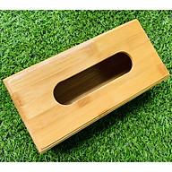 Hộp Khăn Giấy Bằng gỗ Tre có khay kéo tiện lợi ( Tặng kèm 1 khăn lau bàn trà) Màu vẫn gỗ tre rất đẹp - Hàng Việt nam thumbnail