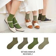 Set hộp 4 đôi tất nữ cổ cao chất liệu cotton cao cấp,họa tiết màu trơn xanh lá, hàng chính hãng NICESOKS - hộp đẹp cao cấp phù hợp làm quà tặng - NS19183FL-1 thumbnail