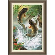 Tranh thêu chữ thập Cá Chép Niên Niên Hữu Dư (78 51cm) chưa thêu thumbnail