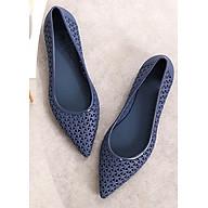 Giày búp bê nữ đi mưa,nhựa dẻo mủi nhọn sang trọng,hoa văn đang chéo -307 thumbnail