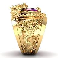 Bộ Nhẫn Khắc Rồng Hoàng Long Mạ vàng 18K, đính đá Hồng Ngọc, Kèm túi Nhung thumbnail