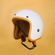 Mũ Bảo Hiểm 3 4 trắng nâu - thoáng khí - kháng khuẩn thumbnail